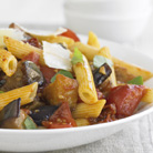 Pasta with Aubergine and Tomatoes
