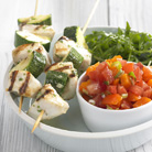 Swordfish and Courgette Kebabs with a Tomato Salsa