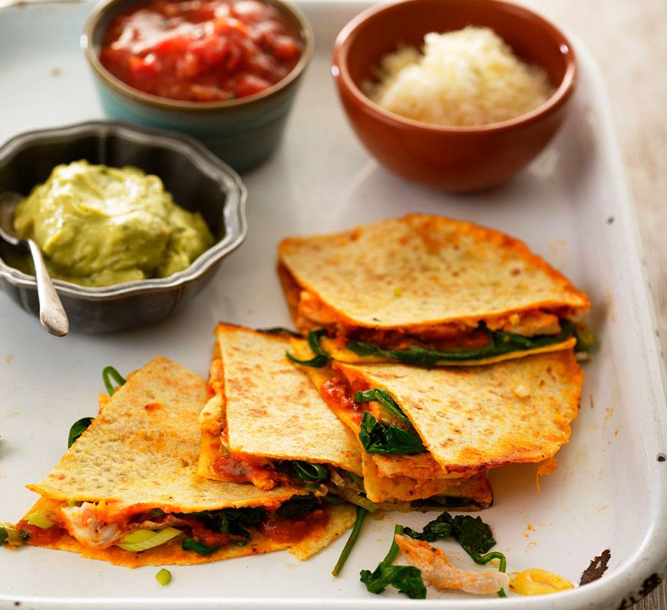 Chicken, Pesto And Spinach Quesadillas