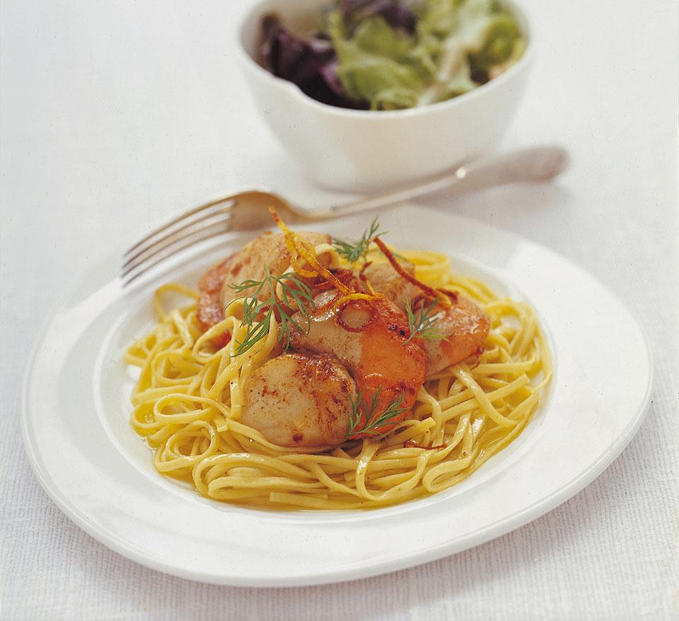 Fresh Pasta with Lemon Scallops