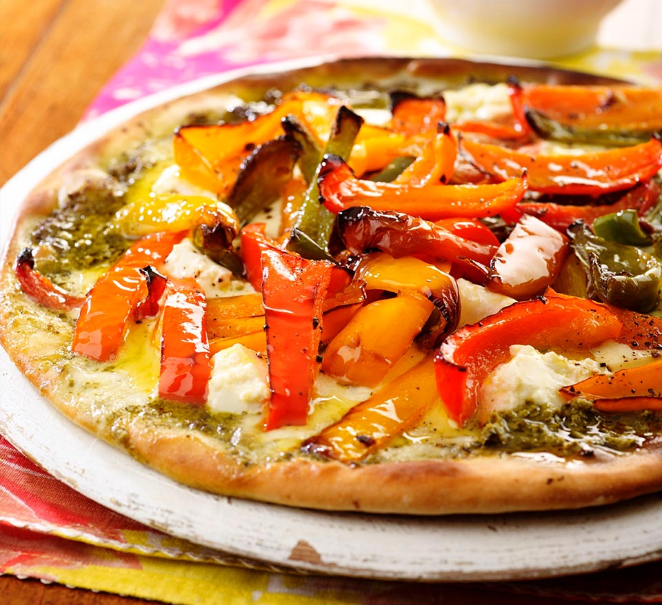 Roast Pepper Pizza with Basil