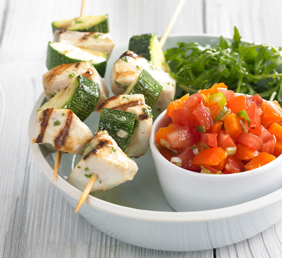 Swordfish and Courgette Kebabs with